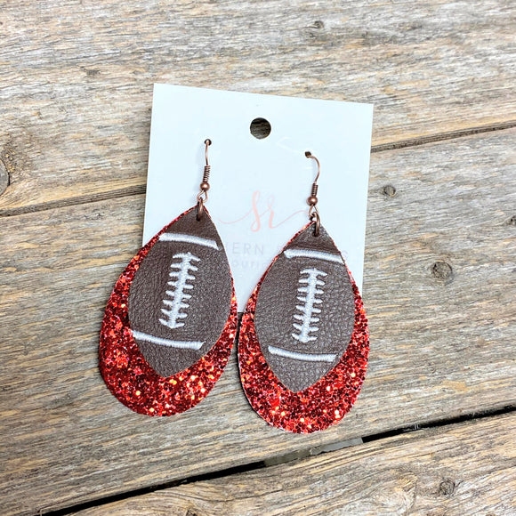 Red Glitter Layered Football Earrings