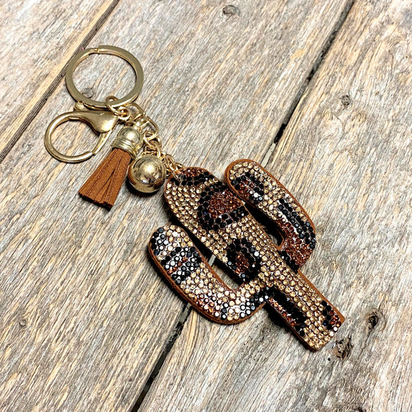 Leopard Cactus Bling Keychain