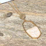Blush Marble+Gold Necklace | Long
