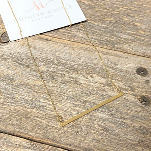 Long Simple Gold Bar Necklace