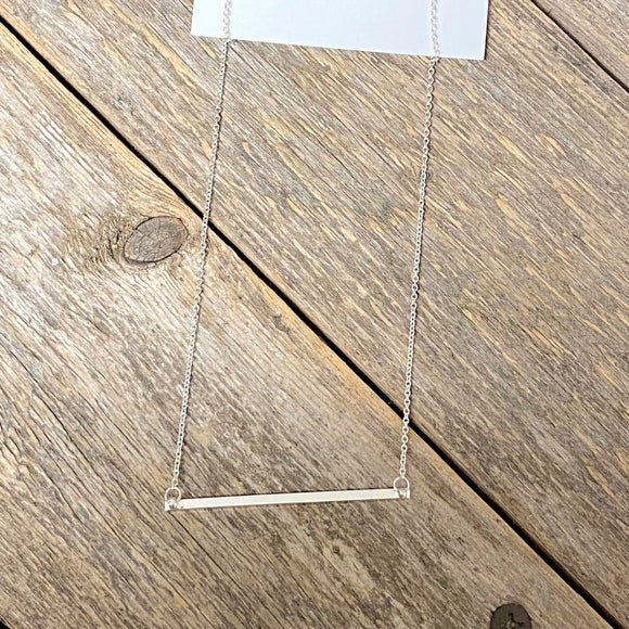 Short Simple Silver Bar Necklace