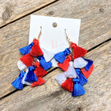 Mini Tassel Cluster Earrings | Red+White+Blue