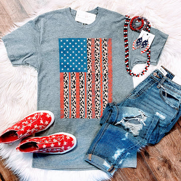 USA Leopard Flag Tee