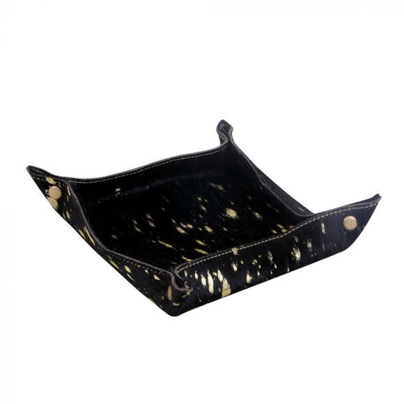 Leather+Hairon Multipurpose Tray | Black+Gold