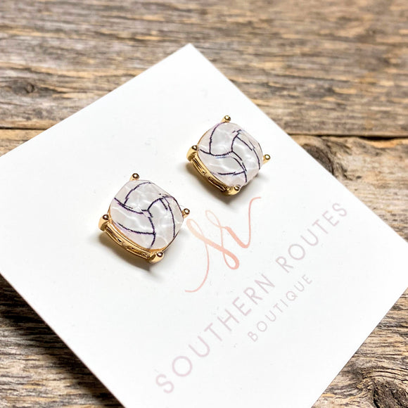 Volleyball Earrings | Beveled Glass Studs