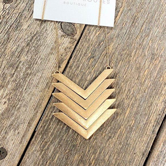 Multi Arrow Long Necklace | Worn Gold