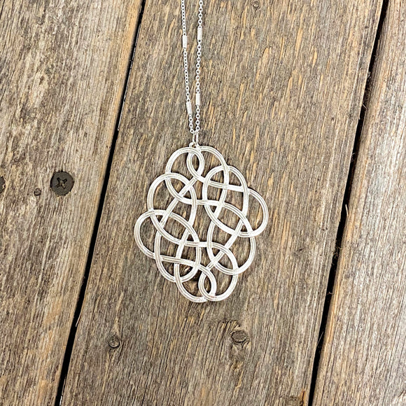 Long Filigree Necklace | Silver