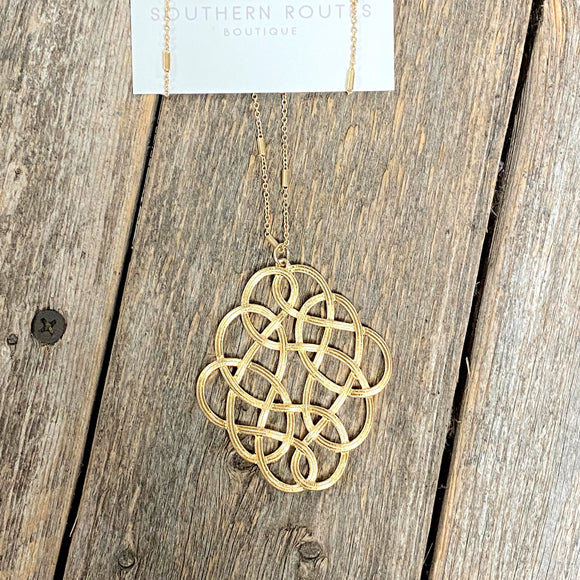 Long Filigree Necklace | Gold