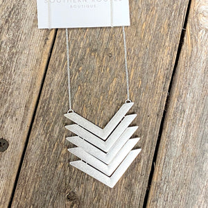 Multi Arrow Long Necklace | Worn Silver