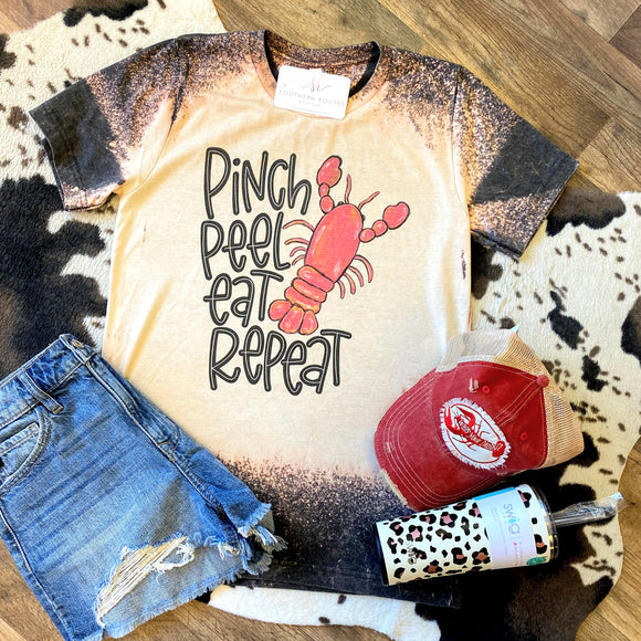 Pinch. Peel. Eat. Repeat | Bleached Crawfish Tee
