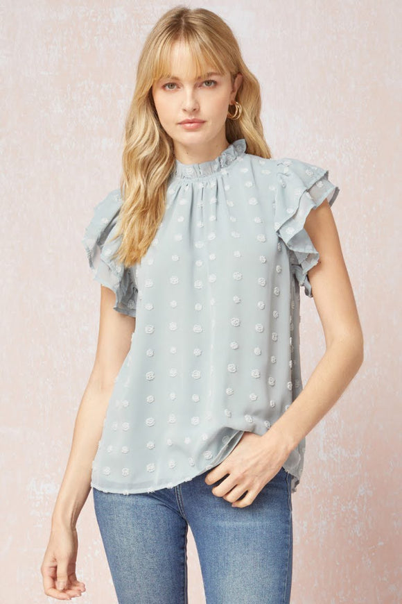 Grey Swiss Dot Mock Neck Top