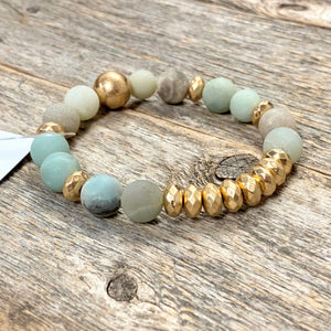 Marble+Gold Bracelet | Light Green