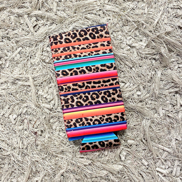Tall Slim Can Koozie | Leopard+Serape
