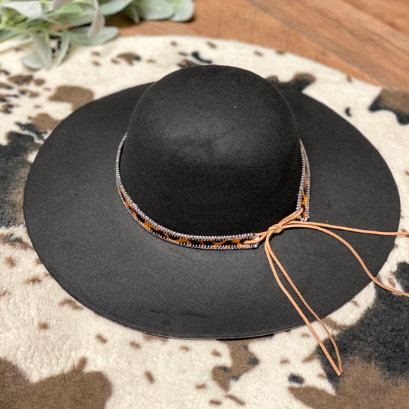 Leopard Banded Floppy Hat | Black