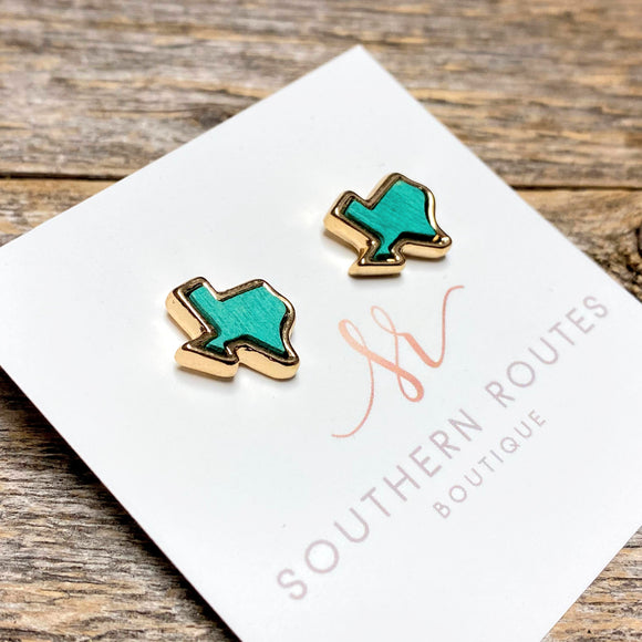 Texas Wood+Gold Stud | Turquoise