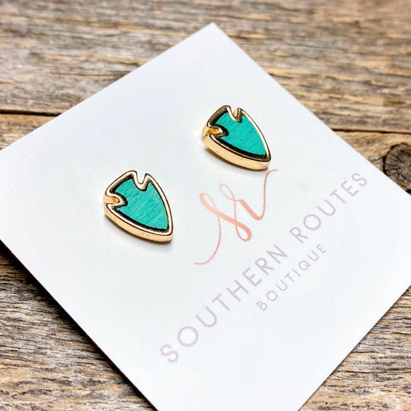 Arrow Wood+Gold Stud | Turquoise