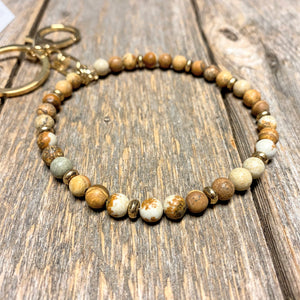 Semi Precious Stone Keychain Bangle | Natural Brown