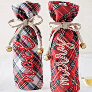 Holiday Tartan Wine Bag