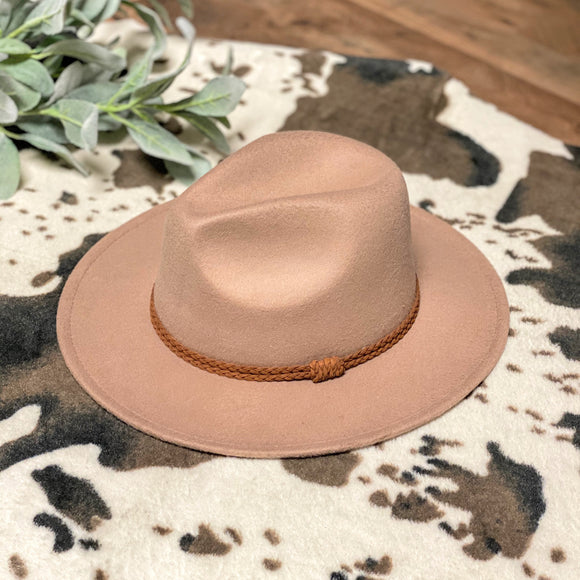 Flat Brim Hat | Braided Band | Taupe