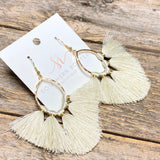 Boho Fringe Earrings | White