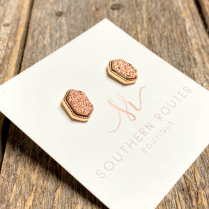 Rose Gold Drusy Stud Earrings