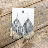 Glitter Dipped Snake Earrings | Grey+Black