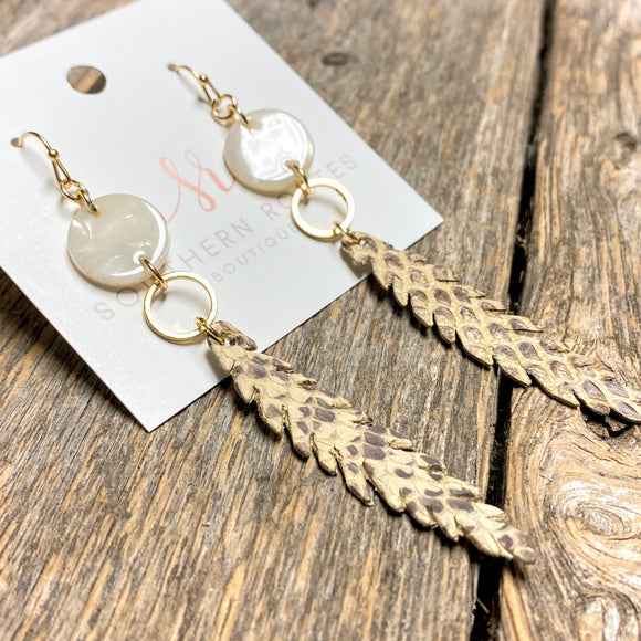 Beige Snake Drop Earrings
