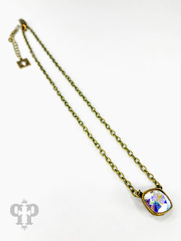 AB Crystal Bronze Necklace | Pink Panache