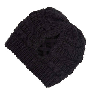 C.C. Criss Cross Pony Beanie | Black