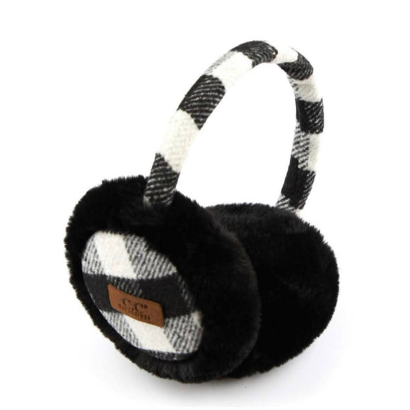 C.C Fur Ear Muffs | Black+White Plaid