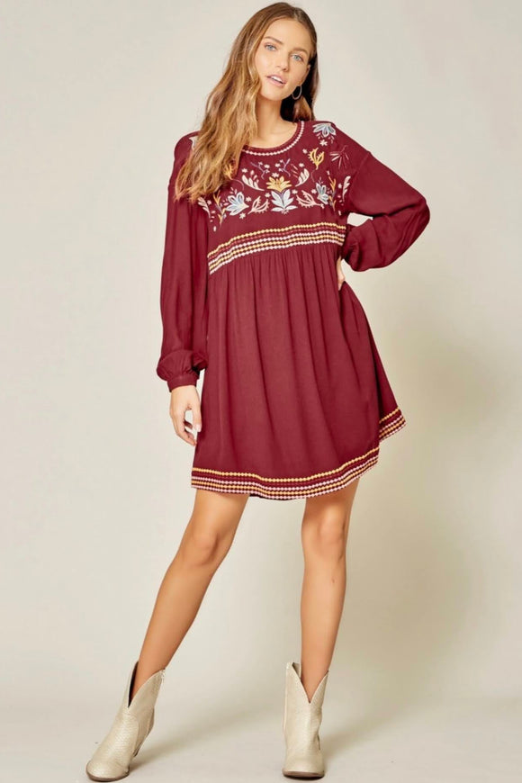 Burgundy+Embroidered Dress