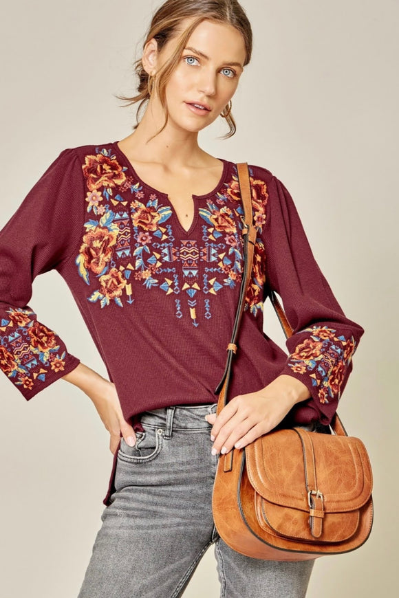 Burgundy+Embroidered Top