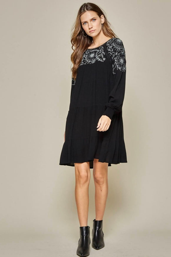 Embroidered+Black Baby Doll Dress