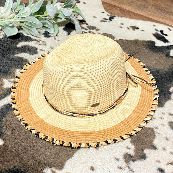 C.C Tan+Black Fringe Panama Hat