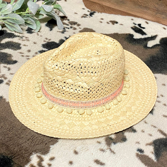 Pom Pom Panama Hat | Natural