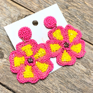 Seed Beaded Flower Earrings | Yellow+Pink