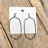 Elongated Gunmetal Hexagon Earrings