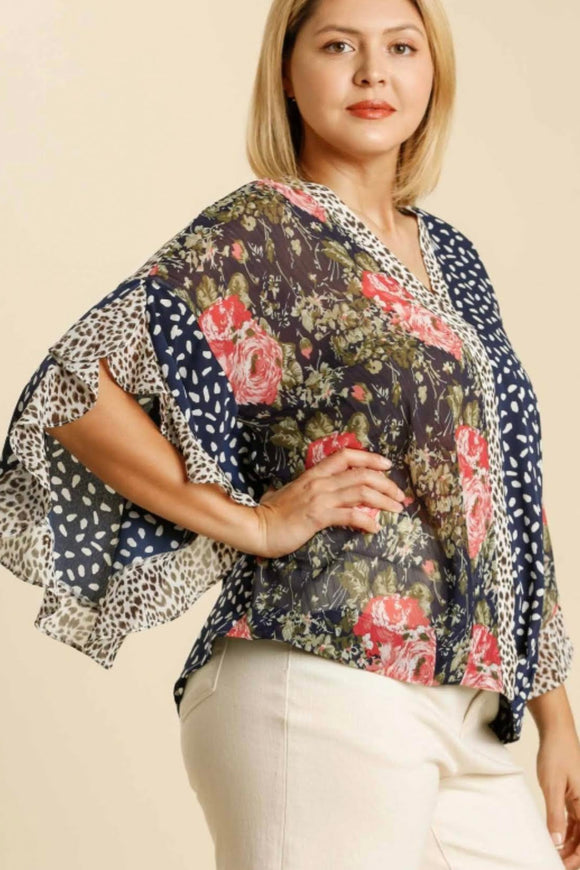 Leopard+Floral Flutter Top | Navy Mix