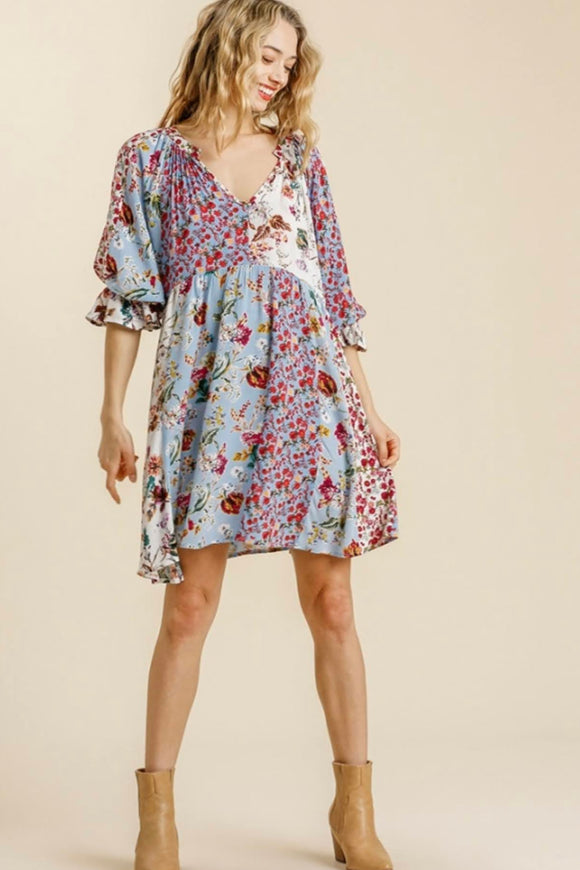 Sky Floral Mix Patch Dress
