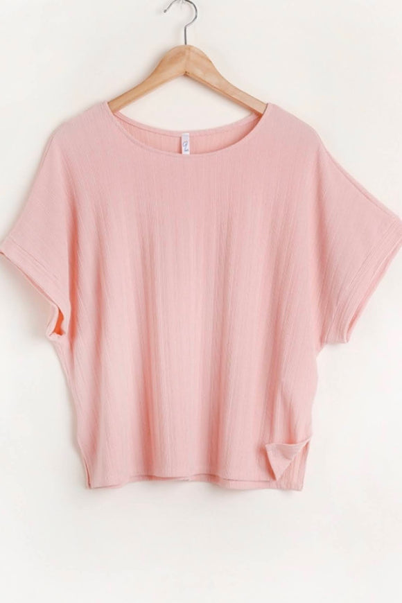 Ribbed Spring Top | Light Rose