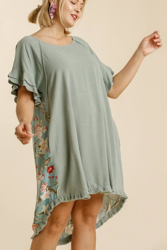 Dusty Mint Floral Linen Dress