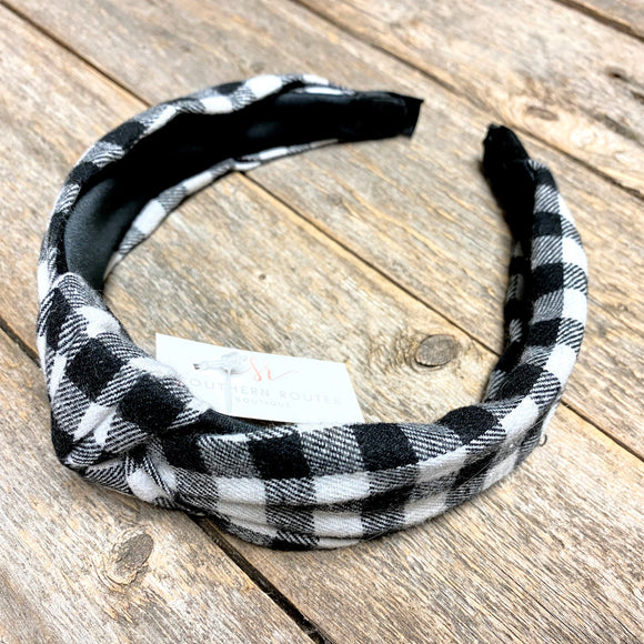 Knotted Headband | Black+White Plaid