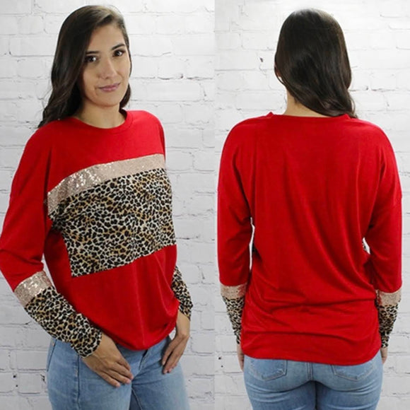 Red Leopard+Sequin Top