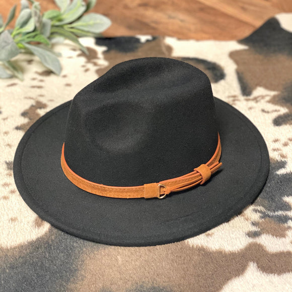 Flat Brim Hat | Camel Band | Black