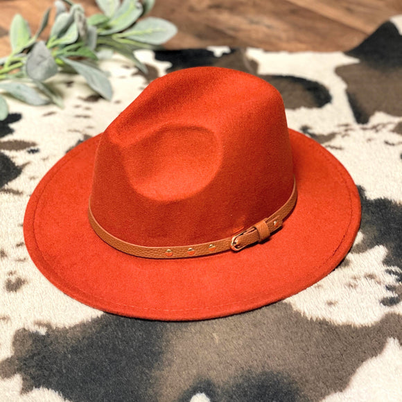 Flat Brim Hat | Brown Band | Rust