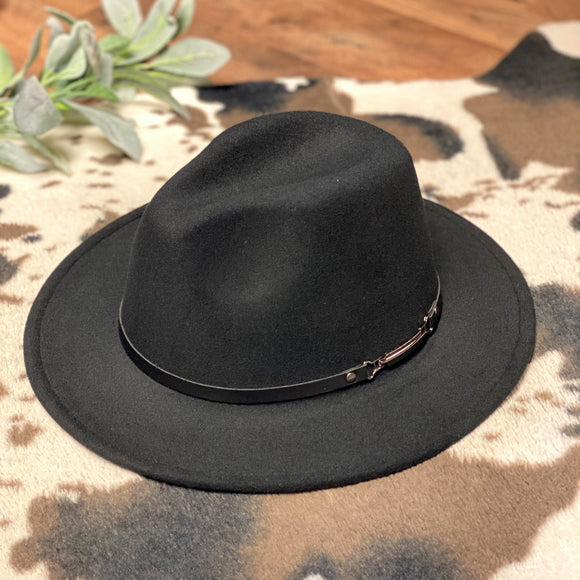 Flat Brim Hat | Black Band | Black