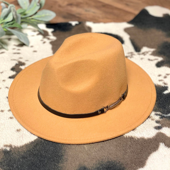 Flat Brim Hat | Black Band | Camel