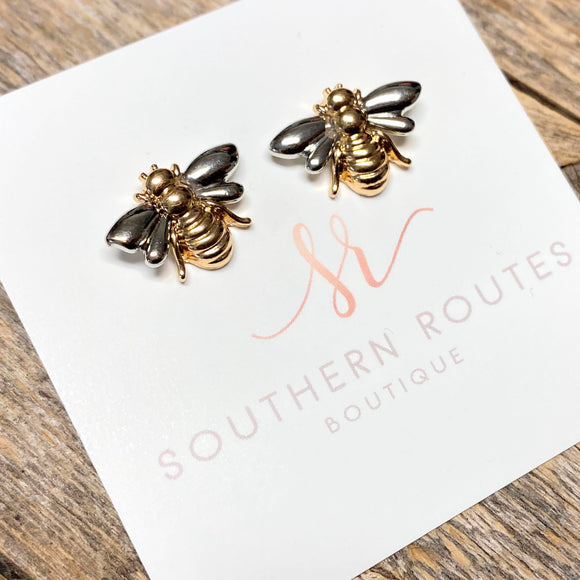 BEE Stud Earrings | Silver+Gold Mix