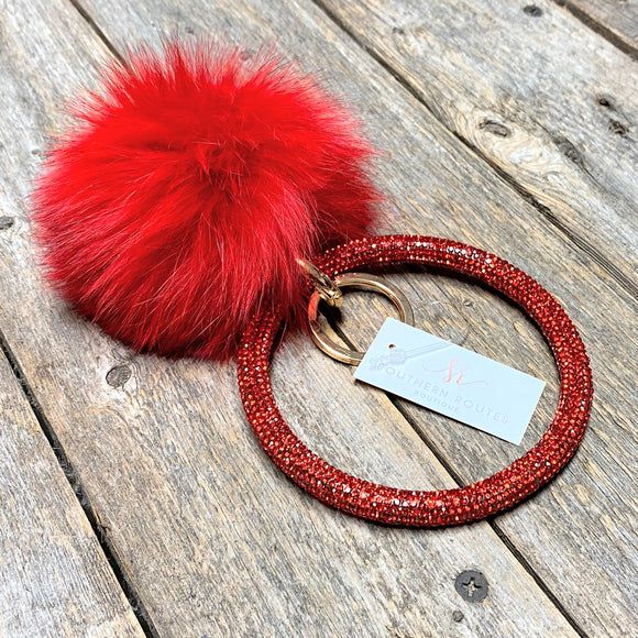 Pom Pom Rhinestone Keychain Bangle | Red