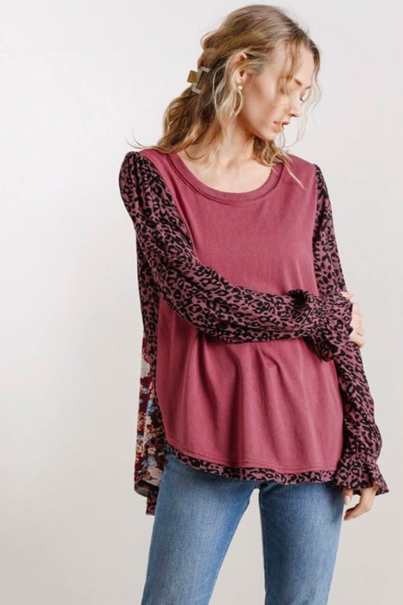 Cranberry Floral+Leopard Mix Top